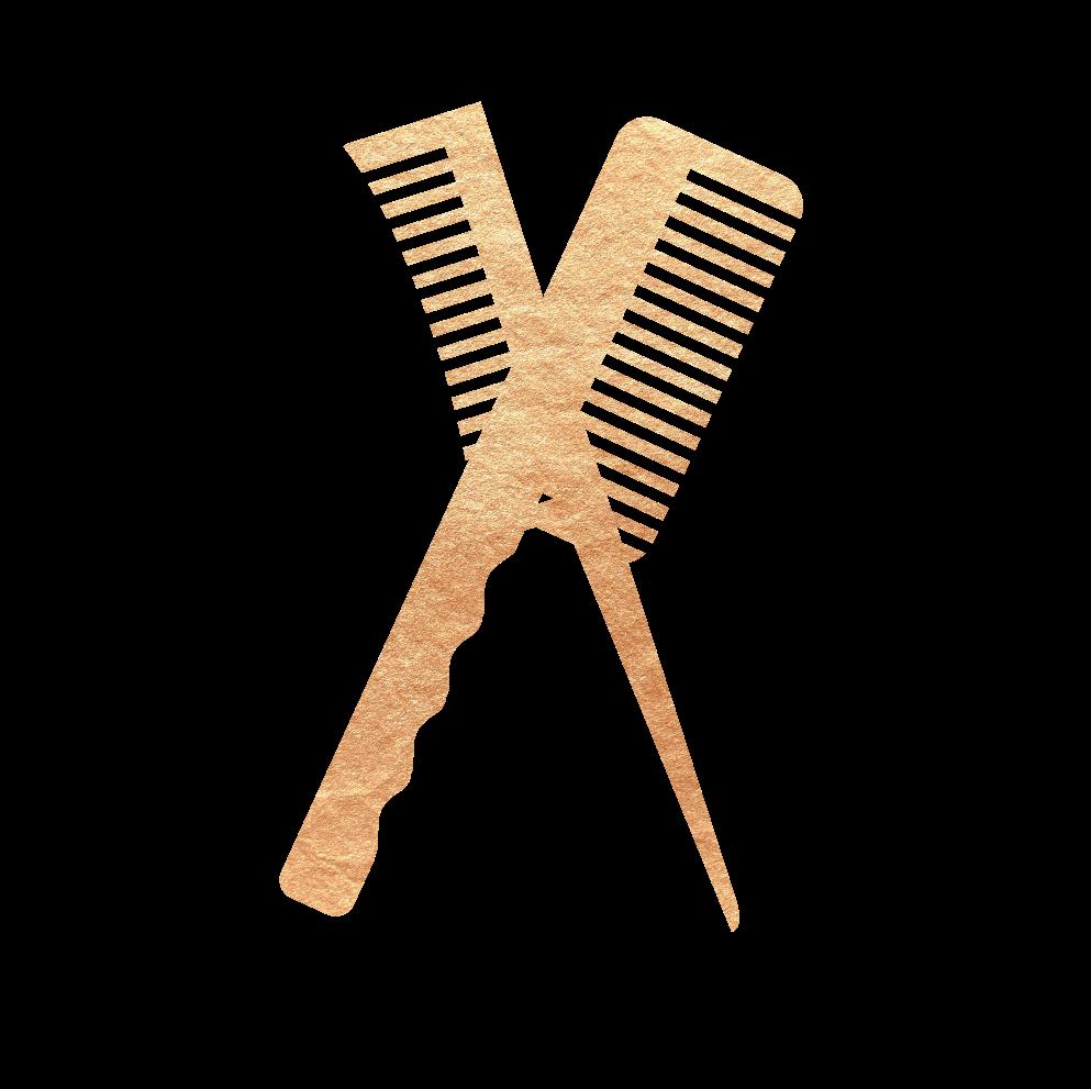 Gold hair combs graphic - Mr. Golden Scissors