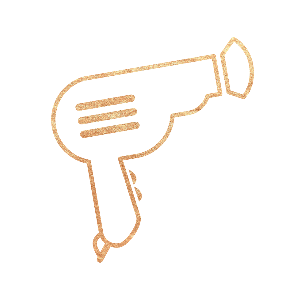Gold hairdryer graphic - Mr. Golden Scissors