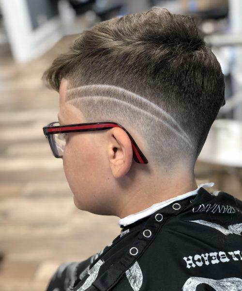 Left side view of designer cut - Mr. Golden Scissors