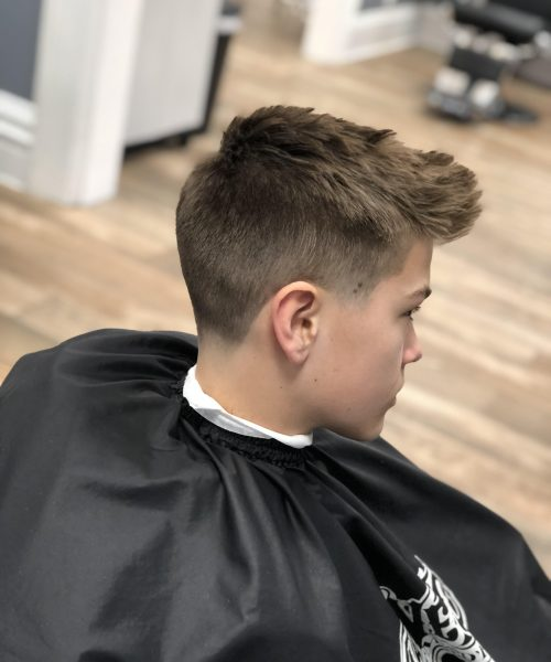 modern haircut on a young boy - Mr. Golden Scissors